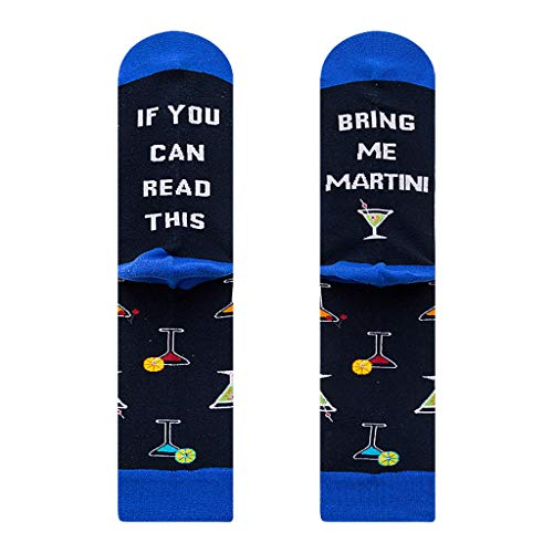 liaobeiotry Novelty Funny Saying Crew Socks If You can Read This Martini Whisky Stockings Universal para todas las estaciones, Navidad Halloween Artículo, 1, As shown