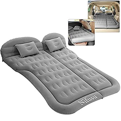 SUV Air Mattress Camping Beds, Inflatable Thickened Car Mattress Backseat with Two Pillow and Electric Air Pump, Double-Sided Portable Sleeping Pad for Home, Outdoor and Travel (Grey)