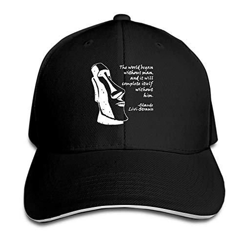 Snapback Cap L??vi Strauss and The Moai Statue Flat Bill Hats Adjustable Baseball Caps for Men/Women