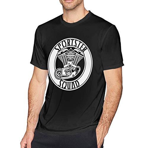 ADKASD Hemden T-Shirt Mens Print Sportster Squad Classic Logo T-Shirts Black