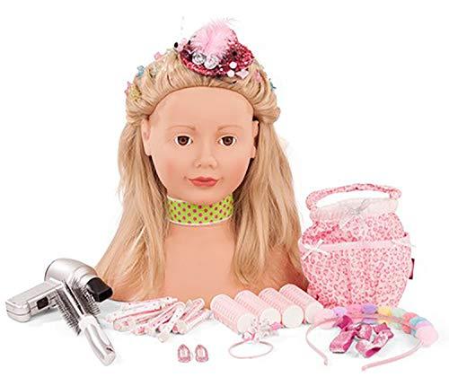 Götz 1792055 Haarwerk Lollipop Signature Edition, Blonde Haare, Blaue Augen - 28 cm hoher Frisierkopf- und Schminkkopf in 50-teiligen Set - geeignet für Mädchen ab 3 Jahren
