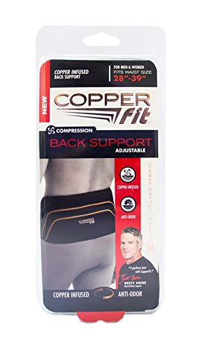 "Copper Fit Pro Back Support, Black with Copper Trim, Small/Medium, Unisex Waist Size 28""-39"" (Renewed)"