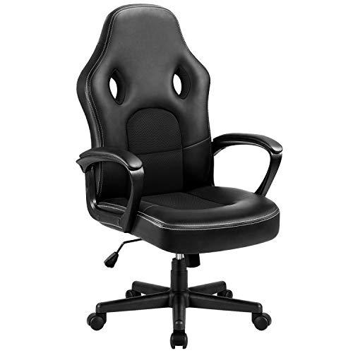 Homall Gaming Stuhl Racing Stuhl Bürostuhl Gaming Stuhl Chefsessel Drehstuhl Hoch Rücken Ergonomischer PU Leder Hoch Rücken Ergonomischer Computer Schreibtisch, Schwarz