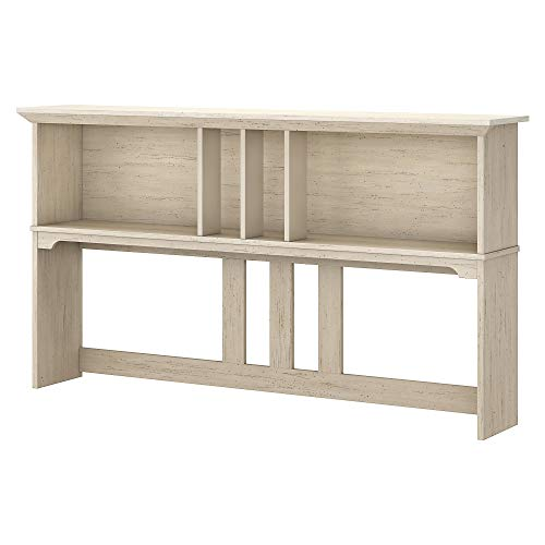 Bush Furniture Salinas 60W Hutch for L Shaped Desk in Antique White