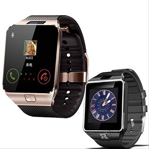 POKQHG Top Hot Koop Smart Horloge Mannen Vrouwen Dz09 Camera Sim-Kaart Bellen Smartwatch Voor Ios Android Sport Smart Fitness Paar Klok Set, Goud en Zwart