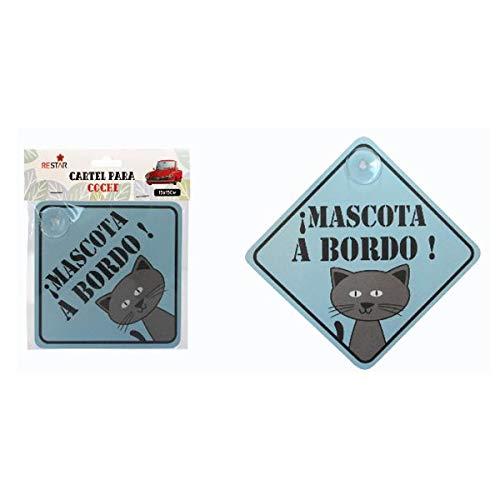 Cisne 2013, S.L. Vinilo Adhesivo para Coche Diseño Mascota a Bordo! Pegatina Adhesiva Coche tamaño 15x15cm Mascota a Bordo Gato