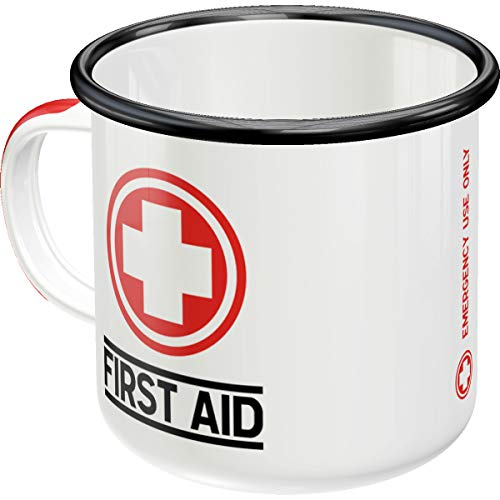Nostalgic-Art - Taza de café esmaltada retro First Aid – Classic – Idea de regalo para los amantes de la nostálgica, taza de camping, diseño vintage, 360 ml