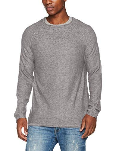 New Look Mistake Stitch T-Shirt, Elfenbein (Stone), Small Uomo
