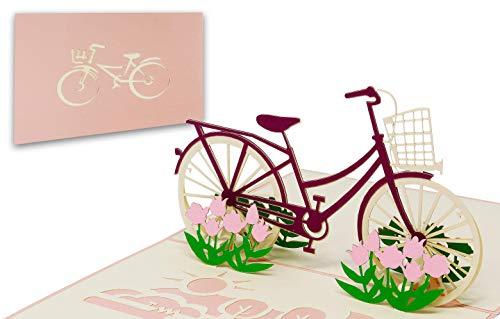 LIMAH® Pop Up 3D Blumen-Fahrrad-Karte, Glückwunschkarte, Geschenkkarte, Überraschungskarte mit einem Damenrad und roten Blumen gut Kombinierbar mit einem Gutschein zum Geburtstag (Tulpen)