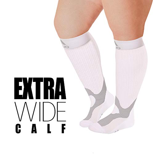 2XL Mojo Compression Socks 20-30 mmHg Large Ankles Extra Wide Calf Compression Stockings White XXL