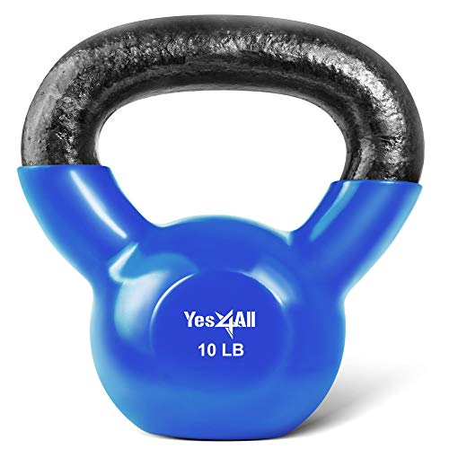 Yes4All Vinyl Coated Kettlebell Weights Set – Great for Full Body...