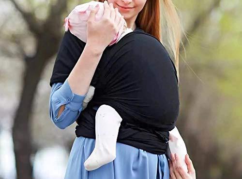 mobebi Babytragetuch für Neugeborene - weiche Baumwolle, Tragetuch Baby elastisch bis 16kg (Schwarz)