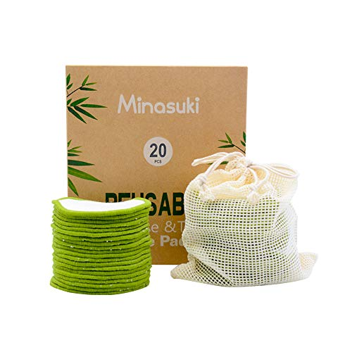 Minasuki 20 Pack Organic Reusable Makeup Remover Pads - Bamboo Reusable Cotton Rounds for Toner, Washable Eco-Friendly Pads for all Skin Types with Cotton Laundry Bag