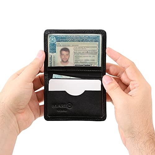 Carteira Mini Couro Legítimo Porta Cartão Cnh Masculina 154 (Preto)