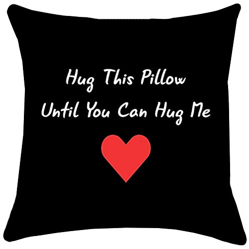 ZUEXT Red Love Heart Valentine's Throw Pillow Covers 20x20 Inch, Cotton Linen Outdoor Cushion Pillowcase for Girlfriend Boyfriend Long Distance Relationship Gift(Hug This Pillow Until You Can Hug Me)
