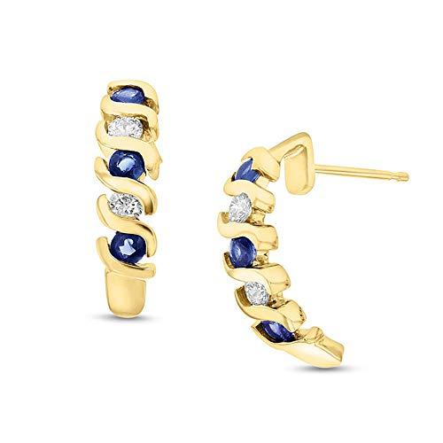 Ani's Pendientes de gota curvados de diamante Sim de corte redondo de zafiro azul de 1/4 quilates, chapados en oro amarillo de 14 quilates con plata de ley 925