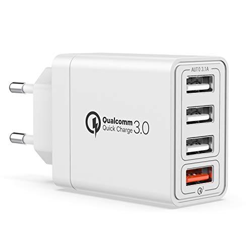 Yeonphom USB Ladegerät Quick Charge 3.0 4 Ports 30W Mehrfach USB Netzteil Stecker QC3.0 Schnellladegerät Ladeadapter für iPhone 12/11/XR/XS/X,Samsung Galaxy S21/S20/10/S9/Note,LG,Huawei,XiaoMi,Handys