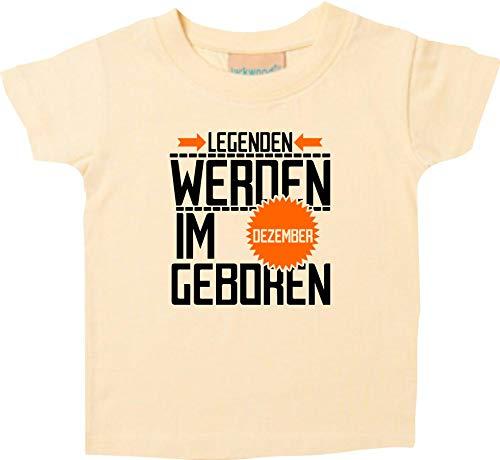 Shirtstown T-SHIRT ENFANTS légendes de Décembre né - Jaune Clair, 0-6 Monate