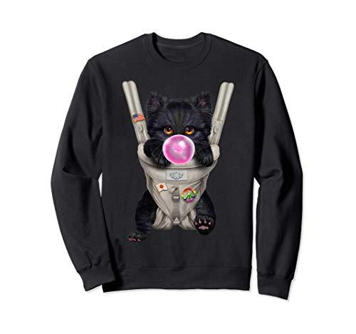 Schwarze Katze mit Kaugummi in der Babytrage Sweatshirt
