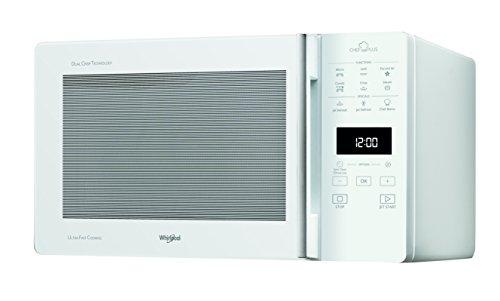 Whirlpool MCP 349 WH Forno a Microonde Chef Plus termoventilato combinato, 25 Litri, 1700W/900W/800W, Bianco, con steamer, griglia alta, griglia bassa e pitto Crisp + maniglia