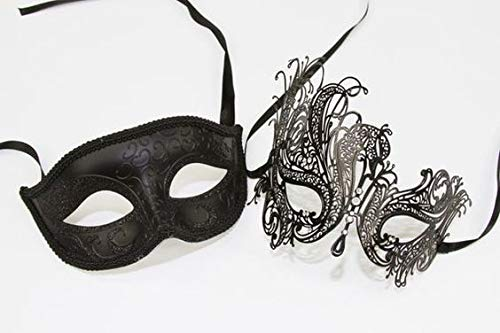 BICHE Couple Black Glitter and Black Lace Eye Mask Masquerade Party, Roleplay, 50 Shades of Grey Fancy Dress