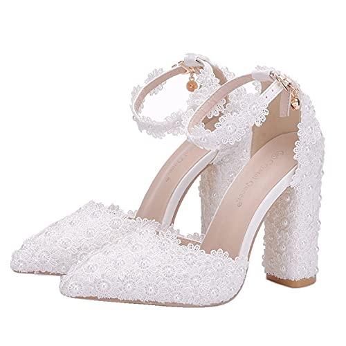 Jerry Zapatos De Novia para Mujer, Sandalias con Hebilla De Punta Puntiaguda...