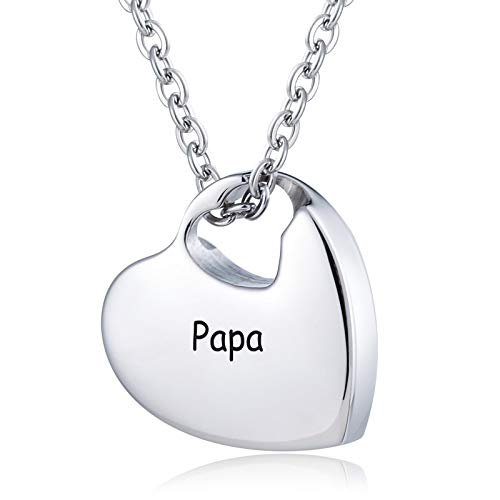 Daesar Memorial Anhänger Herz Halskette Edelstahl mit Gravur Papa Urne Kette Silber Memorial Halskette für Asche Andenken