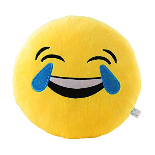 Laugh Till you Cry Pillow 12.5 Inch Large Yellow Smiley Emoticon