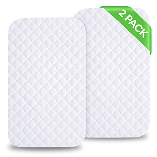 iLuvBamboo Waterproof Bassinet Mattress Pad Protector to Fit MiClassic & Mika Micky Bassinet - 2 PACK Cover - Silky Soft Bamboo Jacquard Fitted Topper - Quiet, Breathable & Smooth - Best for Baby Gift