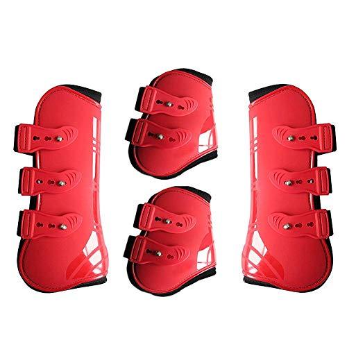 Pferde-Beinschutz, Neopren, mit Schnellverschluss, verstellbar, sanft und bequem, 3 Farben, rot