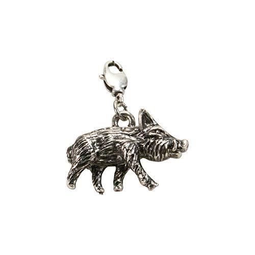 Alpenflüstern Trachten-Anhänger Wildschwein für Charivari oder Trachtenkette antik-Silber-Farben AAH176 - 2