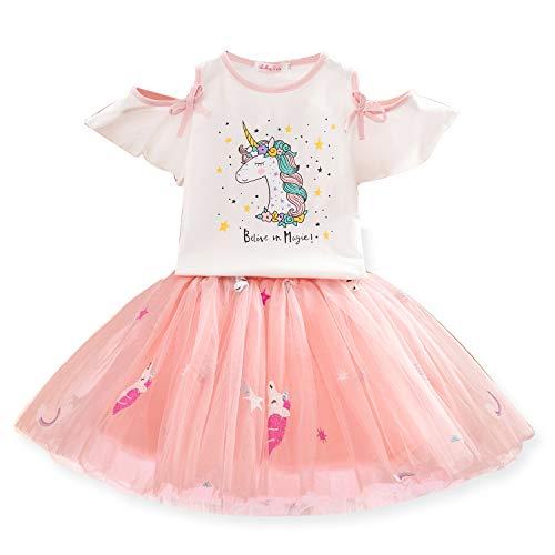 TTYAOVO Conjunto de Ropa para Niñas, Camiseta Unicornio Tops de Niña con Vestido de Fiesta de Cumpleaños de Princesa de 6-7 años(Talla140) 616 Blanco