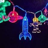 XINGHE Cadena de luces LED, 3 metros, 20 luces LED, decoración de astronauta nave espacial, colgante de cohetes, luces de fiesta de vacaciones, espacio exterior, decoración de habitación de niños