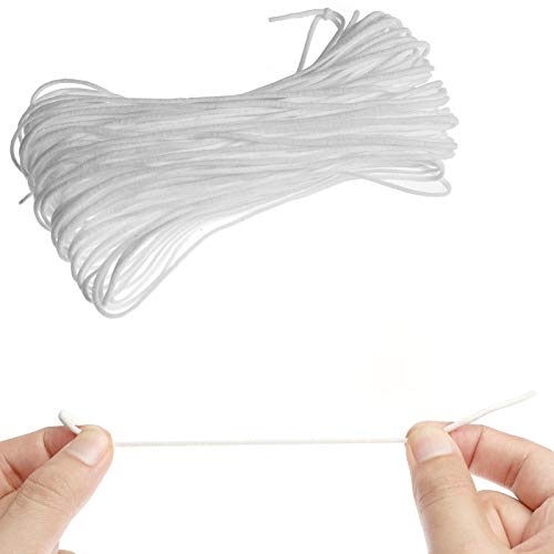 Hbaid 30M Gummiband 3mm, Gummiband Nähen Weiß gummibänder Hochwertiges Gummiband für Mundschutz, DIY-Nähhandwerk, Stricken, Tagesdecke, Manschette