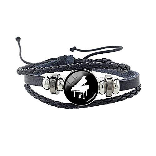 ZWXDMY Leder-Punk-Armband,Mann Leder Musik Klavier Drucken Armreifen Personalisierte Multi Geflochtenes Seil Layer Armbänder Wrap Unisex Damen Charme Bracelets Wrap Netzkabel
