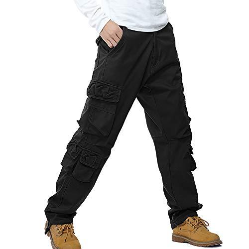 Huntrly Men's Overalls Loose Solid Color Wide-Leg Multi-Pocket Combat Pants Outdoor 38 Black