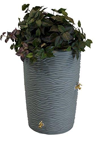 Good Ideas Imp-L50-GRY Impressions Palm Rain Barrel, 50 Gallon Palm, Grey