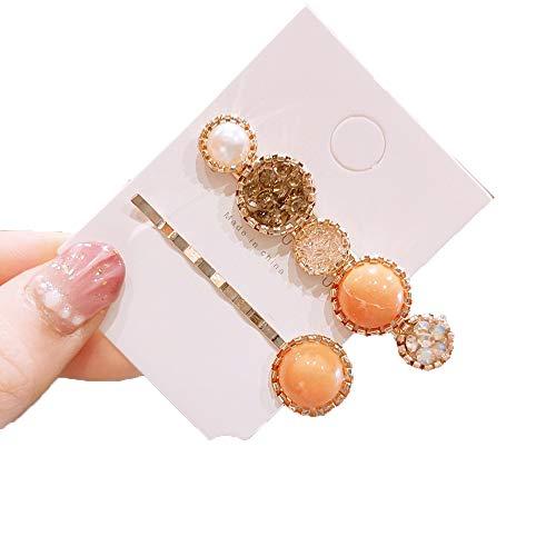 2 horquillas para el pelo de perlas,pasadores de pelo de moda,pasadores de metal antideslizantes,hechos a mano con diamantes de imitación,para mujeres, mujeres y niñas,accesorios para el pelo(naranja)