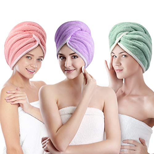 Hair Towel Wrap, Unimi 3 Pack Microfiber Towel for Women Girls, Super Absorbent Hair Drying Towel Anti Frizz Hair Turban for Curly, Long, Thick Hair