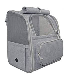 Purrpy Cat Backpack Carriers, Dog Backpack, Pet Carrier Backpack for Cats and Dogs Puppies, Ventilate Transparent Space Backpack for Travel, Hiking and Outdoor Use (Grey)