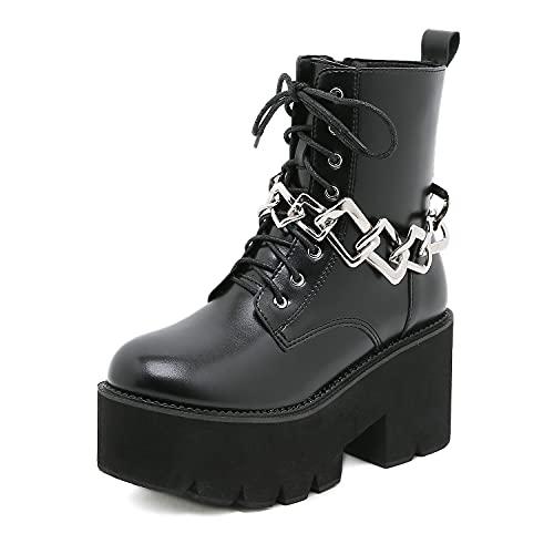 Góticas Punk Botines Militares con Plataforma para Mujer con Cordones Botas De Combate Tacón Ancho con Cadena,Negro,43 EU