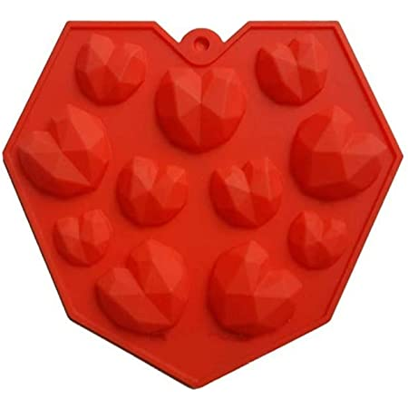 Amos 3D Small Diamond Heart Silicone Mold/Mould for Chocolate Cake Decoration Kitchen Baking Accessory (Random Color)