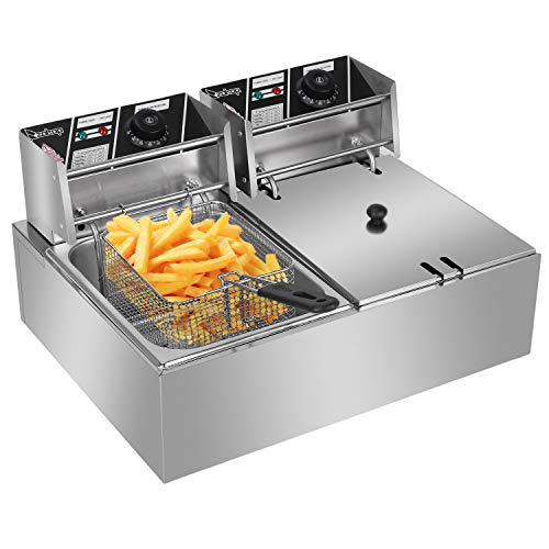 Electric Deep Fryer w/Basket & Lid, Countertop Kitchen Frying Machine, Stainless Steel French Fryer 5KW 110V (12L)