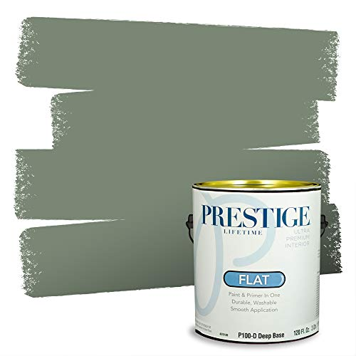 Prestige Paints Interior Paint and Primer In One, 1-Gallon, Flat, Comparable Match of Sherwin Williams* Privilege Green*