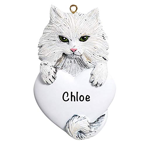 White Cat Christmas Ornament Personalized