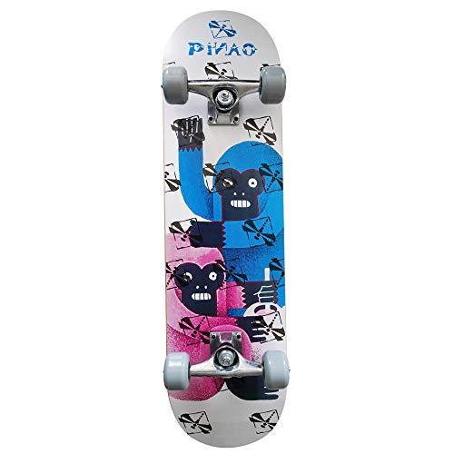 PiNAO Sports - Skateboard Nalu für Kinder & Jugendliche, Erwachsene, Einsteiger-Skateboard [7-schichtiges Ahornholz, Aluminium-Trucks, Riser Pad, High Rebound Rollen, ABEC 5 Kugellager] (Ape)