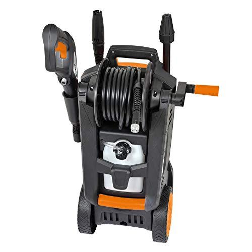 DELTAFOX Hochdruckreiniger - max. Druck 150 bar - max. 450 l/h Fördermenge - 6m Schlauch - 5m Kabel - 2100 W - Reinigungsmittelbehälter - Schlauchtrommel - Kabelhalter - 4