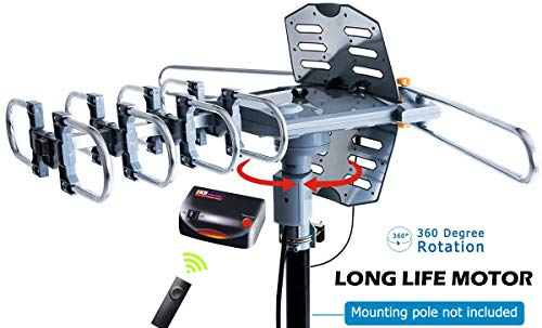 pingbingding Outdoor Digital Amplified HDTV Antenna, 150 Mile Motorized 360 Degree Rotation, Wireless Remote Control, 59FT RG6 Coax Cable, Coaxial Grounding Block, UHF VHF 1080P 4K, Support 2 TVs