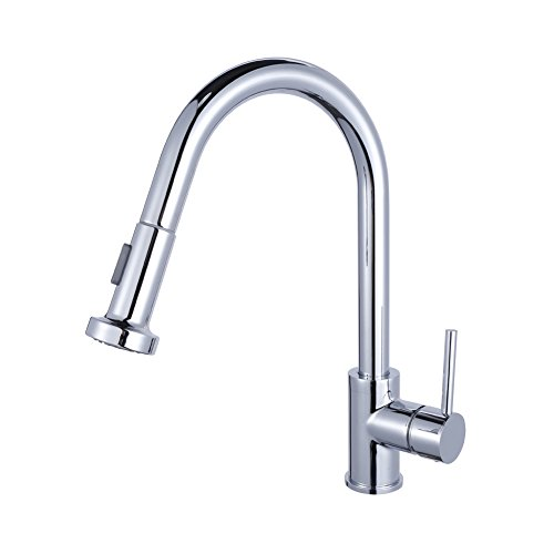 Luxice Single Handle Pull Out Kitchen Sink Faucet with Versatile and Swivel Sprayhead Pull Down Sprayer Unique Desinger Vanity Cooper Plumbing Fixtures,Chrome Finish