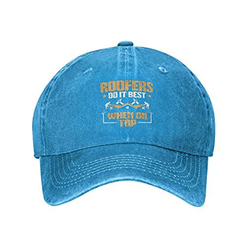 Techador de techo Slater Techo de tejado Thatcher Gorra de béisbol lavado ajustable sombrero para hombre mujer, azul, Talla única